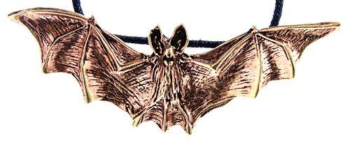Kiss of Leather großer Fledermaus Anhänger aus Bronze mit Baumwollband