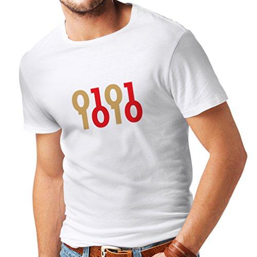 lepni.me T-Shirt pour Hommes Code Binaire, maniaque de l'ordinateur, Cadeau d'humour de Programmeur (Small Blanc Or)