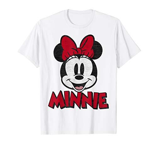 Disney Mickey And Friends Minnie Red Text Portrait T-Shirt