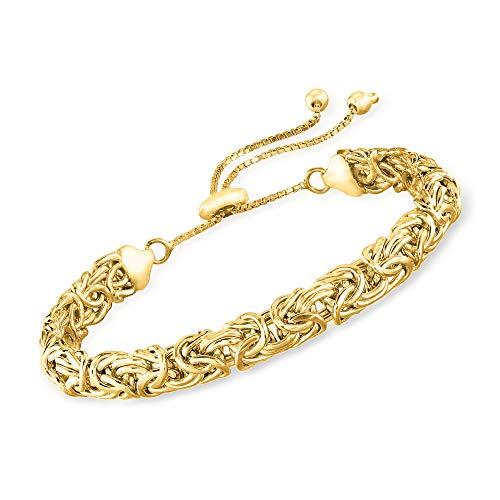 Ross-Simons 18kt Gold Over Sterling Silver Byzantine Bolo Bracelet