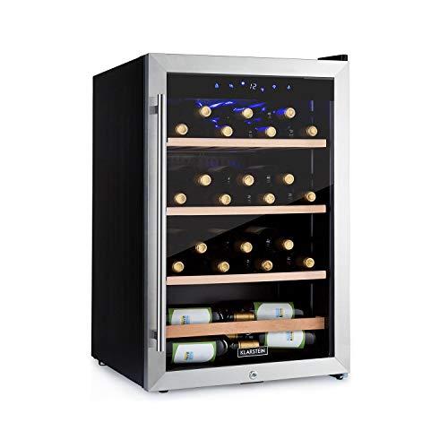 Klarstein Vinamour - Nevera para vinos, Temperatura 5-22 °C, Pantalla LCD, Panel de control táctil, Acero inoxidable, 3 zonas de refrigeración, Capacidad de 128 Litros, Para 48 botellas, Negro