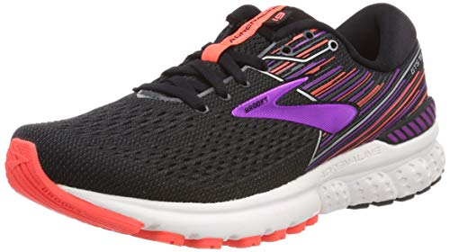 Brooks Womens Adrenaline GTS 19 Running Shoe - Black/Purple/Coral - 2E - 7.5