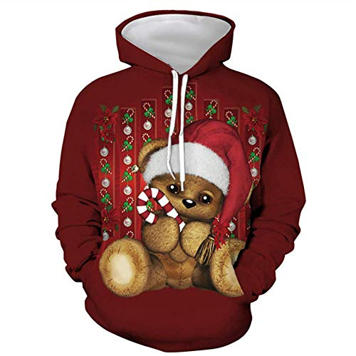 LZBBJ Unisex hoodies 3D-print pullover vrouwen-man-kerst los met capuchon kant sweatshirts met tas (Cute Bear)