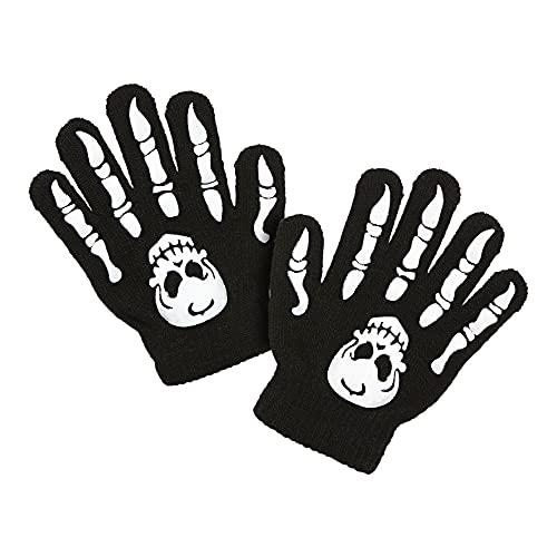 Widmann 02421 - Handschuhe Skelett mit Totenkopf, Kindergröße, schwarz, Halloween, Karneval, Mottoparty