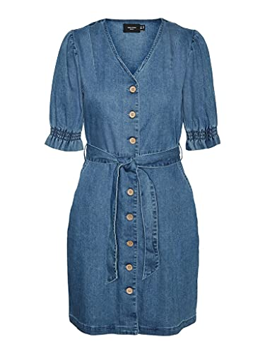 Vero Moda VMNORAH Short Denim Dress GA Vestido, Medio De Mezclilla Azul, S para Mujer