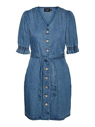 Vero Moda VMNORAH Short Dress GA Vestito, Media Blu Denim, XS Donna
