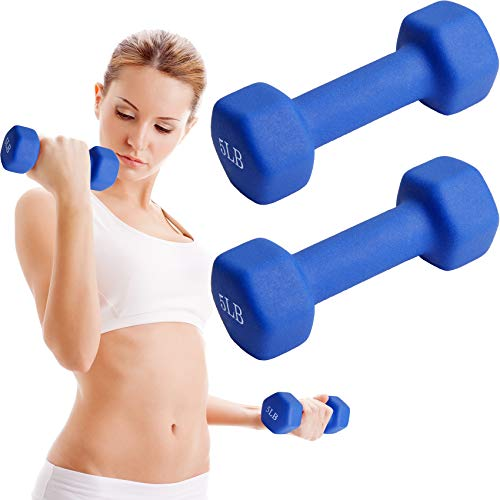 TopMade Dumbbell Set, 5lb A Pair Neoprene Coated Iron Dumbbells Hand Weights Set Barbell Lifting Exercise Fitness Hex Dumb bell Free Weight Dumbbell for Women Men Home Gym Workout Strength Training