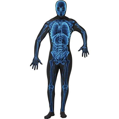 NET TOYS Röntgen Second Skin blau schwarz Ganzkörperanzug XL 56/58 Skelett Kostüm Zweite Haut Kostüm Faschingskostüme Karnevalskostüme Männer Herren