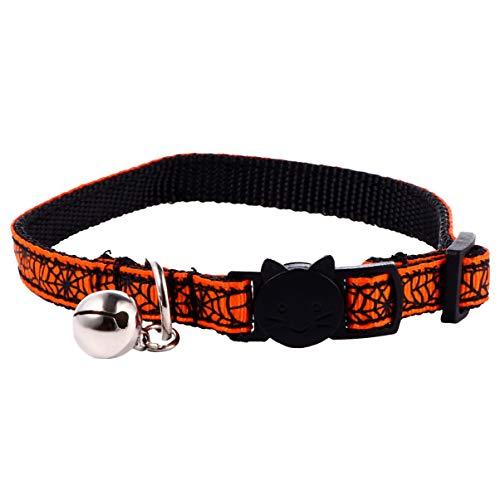 Balacoo Halloween-Haustierhalsband Verstellbares Schädelkatzenhalsband mit Glocke Abbrechbar Halloween-Kostümhalsbänder für Welpenkätzchenhundehaustiere (Orange)