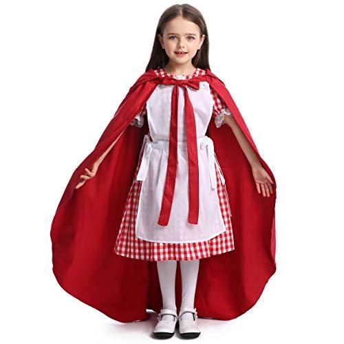 LOLANTA Mädchen Rotkäppchen Kostüm Kind Halloween Cosplay Dress Up Kostüm (Kleid + Mantel, 110/122 (4-6 Jahre))