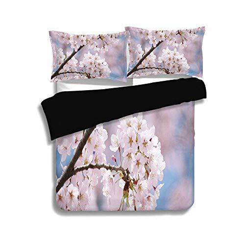 Juego de funda nórdica negra, decoración de primavera, ramas de árboles florales, pétalos de flores de cerezo, brotes, paisajes florecientes, color rosa bebé, ropa de cama decorativa de 3 piezas con f