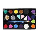 Juego de pigmentos de pintura corporal facial de 14 colores, juego de herramientas de pintura de maquillaje de Halloween para fiestas de cumpleaños, eventos escolares