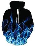 ALISISTER Unisex Felpa con Cappuccio 3D Fumo Blu Stampa Hoodie Felpa Autunno Inverno Pullover Maglione con Cappuccio per Coppia Juniors M