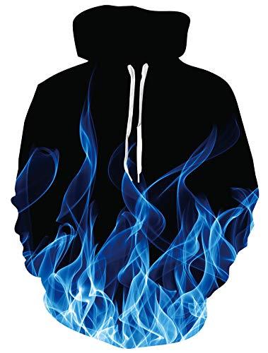 ALISISTER Unisex Felpe con Cappuccio Realistico 3D Cool Fumo Blu Stampa Felpa Pullover Hoodie Autunno Inverno Hooded Sweatshirt per Uomo Ragazzo XL