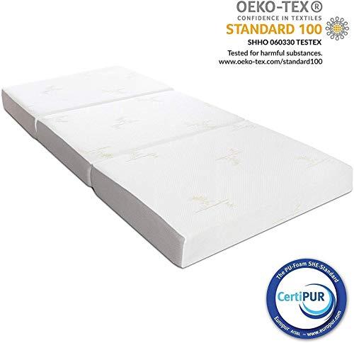 Milliard Gastenmatras 3-Delige Vouwmatras Memory Foam, Logeermatras met Ultrazachte Afneembare Hoes en Antislip Onderkant (Single 190 x 90 x10 cm)