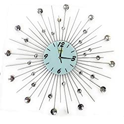 Sunburst Metal Silent Wall Clock Beautiful Stylish Home Office Decor 9''inch Glass face with 27''inch Metal Design