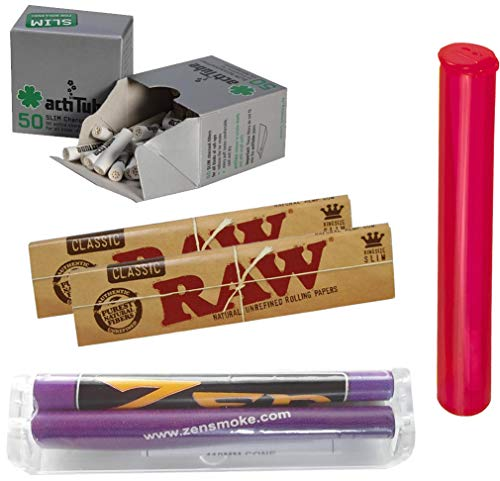 yaoviz Set Zen konische Drehmaschine 110mm - 50x actitube Slim Aktivkohlefilter - 2X RAW KS Slim Papers ungebleicht - Buddies Tube 120mm bunt