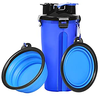 UPSKY Dog Water Bottle Dog Bowls for Traveling Pet Food Container 2-in-1 with Collapsible Dog Bowls Outdoor Dog Water Bowls for Walking Hiking Travelling