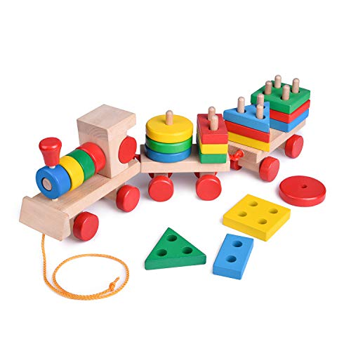 FUN LITTLE TOYS 15.5 Inches Wooden Train Toddler Toys, Shape Sorter and Stacking Wooden Blocks, Wooden Toys, Puzzle Toys Preschool Educational Toys