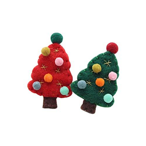 Amosfun 2 piezas de fieltro alfileres de broche de árbol de navidad fiesta de navidad favorece regalos (color aleatorio)