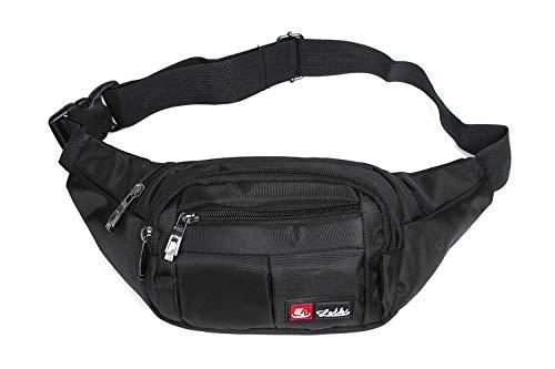 Toudorp Wasserdicht Gürteltasche / Bauchtasche mit 4 Einzeltaschen für Damen, Herren und Kinder, für Outdoor Reise und Laufen Schwarz