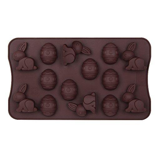Dr. Oetker Silikon-Schokoladenform 'Fröhliche Ostern' 14er Silikon Schokoladeneier, Schokoladenform Osterhase, Schokohasen für Kuchen, Menge: 1 Stück