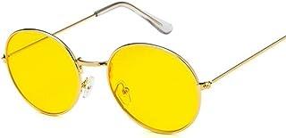 QWKLNRA - Gafas De Sol para Hombre Montura De Color Dorado Retro Lente Amarilla Gafas De Sol Redondas contra-UV Portátiles Retro Mujer Gafas De Sol para Mujer/Hombre Aleación Espejo Ciclismo Viaje