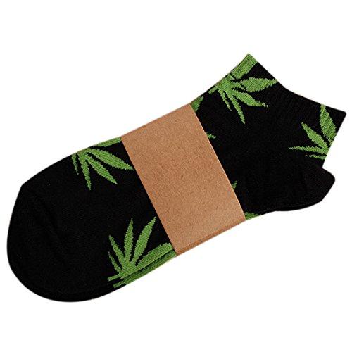 YAMALL Weed Leaf Muster No Show Socken für Männer Frauen Baumwolle kurze Socken schwarz grünen Blatt
