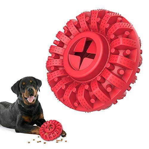 Lewondr Juguete Duradero de Limpieza para Perros, Juguete Tipo Rueda de Goma para Mordedura, Alimentador Fuga Caucho Juego Interractivo para Mascotas Grandes Medianos, Rojo