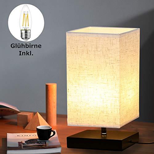 Tischlampe aus Holz Nachttischlampe Vintage Stehlampe Modern auf Tisch E27-Fassung mit EU-Stecker Warmweiß für Wohnzimmer, Kinderzimmer, Schlafzimmer, Esszimmer Eckig