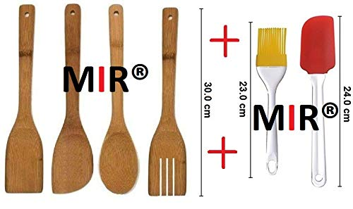 MIR® Non-Toxic & Non-Stick Wooden & Silicon Spatula Kitchen Tool Long Handle Cooking Utensils - Healthy and Natural Wooden Set of (4+2)