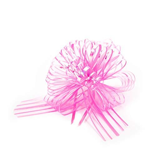 Oblique Unique® Geschenk Schleife mit Geschenkband Glänzend für Geschenke Tüten Zuckertüten zum Basteln Dekorieren Verzieren - wählbar (Rosa)