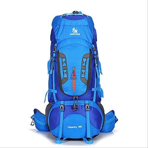 Hongzida Zaini da Campeggio da 80 Litri Borsa da Esterno Zaino da Viaggio Sportivo in Nylon Superleggero Supporto in Lega di Alluminio Blu A