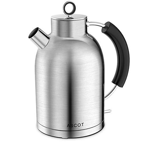 Wasserkocher Edelstahl, ASCOT Elektrischer Wasserkessel, 2200 W, 1,6 liter, Retro Design, kabelloser Teekocher, BPA frei, Trockengehschutz, automatische Abschaltung, Matte