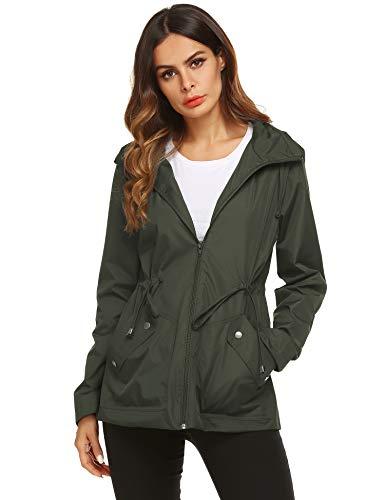 ZHENWEI Mountain Rainoat,Women Waterproof Lightweight Hooded Rain Jacket(Army Green,M)