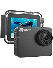"EZVIZ Action Camera 1080p 60fps 8MP 131ft Waterproof 2"" Touch Screen Interface On Dash Cam 150° Wide Angle Low-Light Mode Built-in Wi-Fi Bluetooth Pocket Size Outdoor Sports S2 Lite"