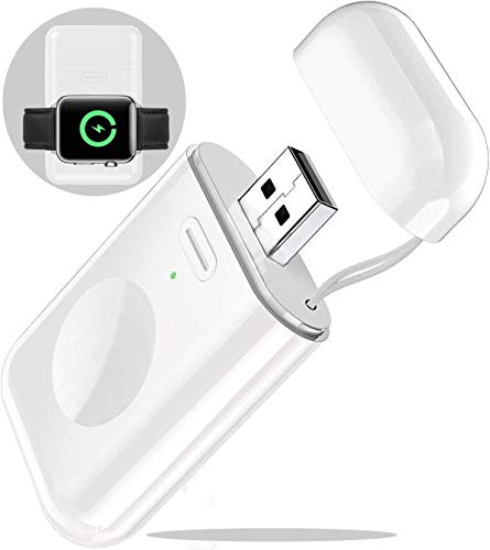 Beseller for Apple Watch Wireless Charger, Portable iWatch Charger Built-in 1000mAh Battery Power with USB Port Pocket Size for Traveling Outdoor Compatible with Apple Watch Series 5 4 3 2 1 (White)