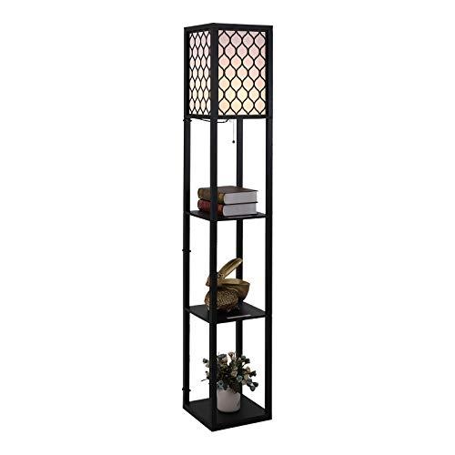 HOMCOM Wooden Modern Shelf Floor Lamp Light with 4-tier Open Shelves Large Storage Display