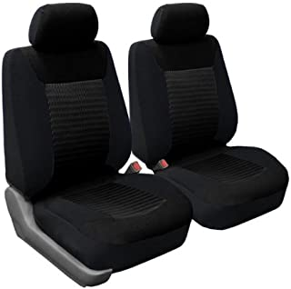 FH Group FB062BLACK102 Seat Cover (Premium Fabric with 3D Air Mesh Airbag Compatible (Set of 2) Black)