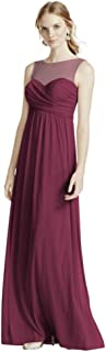 Long Mesh Bridesmaid Dress with Illusion Neckline Style F15927