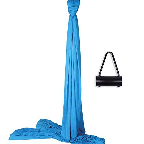 Diabolo Freizeitsport Vertikaltuch Set | 8m Vertikaltuch in blau inkl. Vertikaltuchhalterung (Made in Germany) + Baumwollbeutel | geprüft und zertifiziert | Aufhängung für Yogatücher | Artistik I Aerial Yoga
