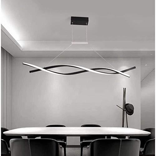 LAIDEPA Araña de Luces Luz de Techo LED Moderno Diseño Regulable Comedor Luz Lámpara Colgante, Lámpara Colgante La Cocina Comedor Mesa de Luz Techo con Mando a Distancia,Negro,120CM46W