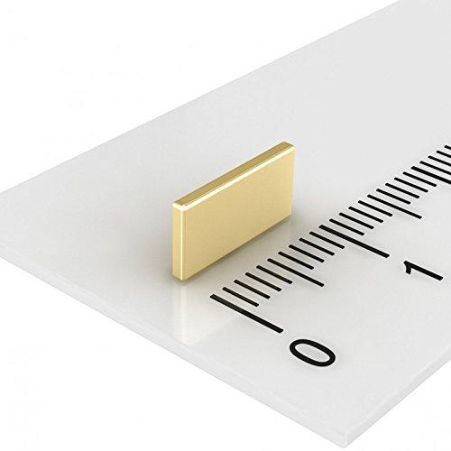20 x Neodym Quadermagnet 10 x 5 x 1 mm, Grade N50, Gold, sehr starker und flacher Magnet