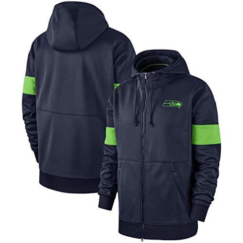 CHANGRAN Herbst und Winter langärmelige Pullover Rugby Seattle Seahawks mit Kapuze verdickte Plus Samt-Sakko Jacke Printed Fußball-Uniform,L