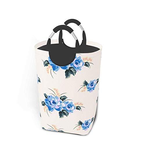 XCNGG Laundry Hamper 50l Waterproof Dirty Clothes Tote Bag Foldable Toy Organizer Baskets Washing Bin W/Aluminum Handles for Bathroom Bedroom Nursery (Blue Flower)