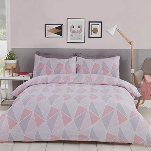 MyHome Bettwäsche-Set für Einzelbett, geometrisches Muster, Rosa / Grau, 1 x 135 x 200 cm und 1 x Kissenbezug 50 x 75 cm