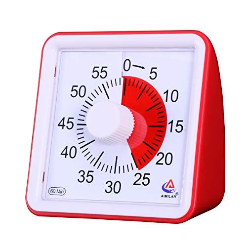 AIMILAR 60 Minuten visueller Timer: Klassenzimmer oder Meetings Countdown-Uhr für Kinder und Erwachsene rot