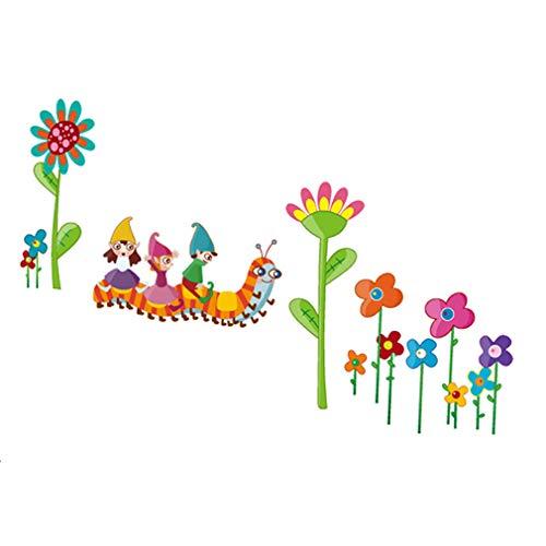 Mélange des fleurs, des chenilles et des enfants Autocollant mural de PVC à la maison papier peint en vinyle pour la décoration papier peint au salon, à la chambre et à la cuisine les photos d'art DIY à la salle de jeux pour des enfants