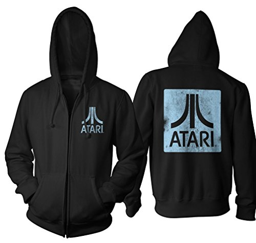 Official Atari Hoodie, Black with Square Logo Back & Chest, Adults S to 2XL