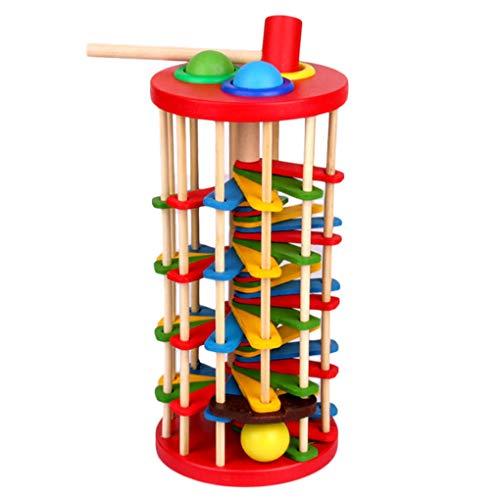Elenxs Golpear la Bola Cae de Escalera de niños Juguetes de Escalera de Madera, fantasía, Mesa de Rolling Ball Escalera
